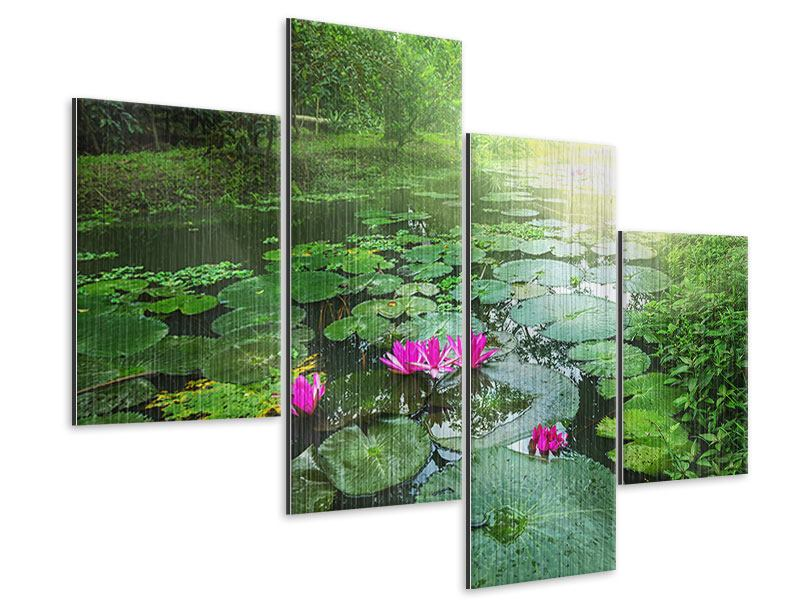 Metallic-Bild 4-teilig modern Gartenteich