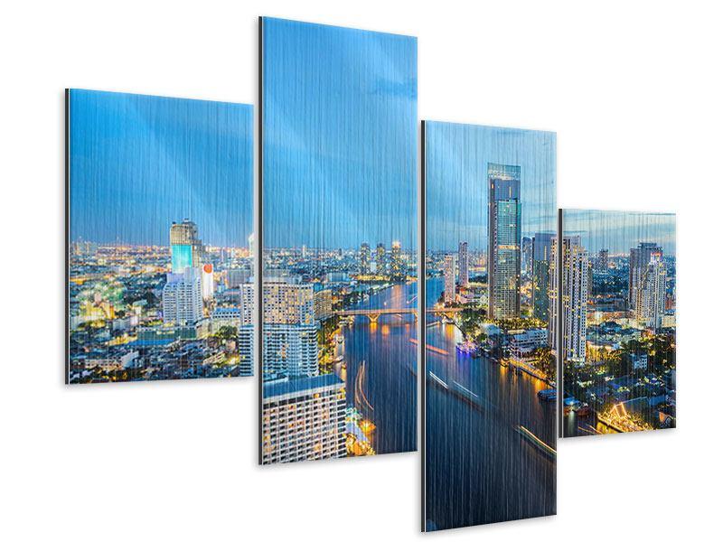 Metallic-Bild 4-teilig modern Skyline Bangkok in der Abenddämmerung