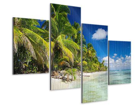 Metallic-Bild 4-teilig modern Die einsame Insel