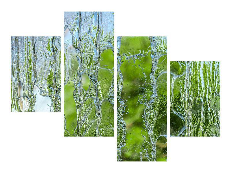 Metallic-Bild 4-teilig modern Hinter dem Wasserfall