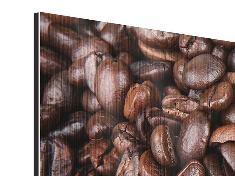 Metallic-Bild 4-teilig modern Kaffeebohnen in XXL