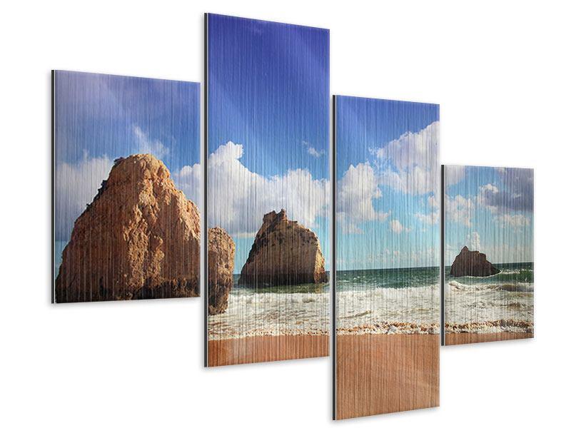Metallic-Bild 4-teilig modern Strandgedanken