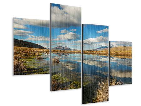 Metallic-Bild 4-teilig modern Wasserspiegelung am See