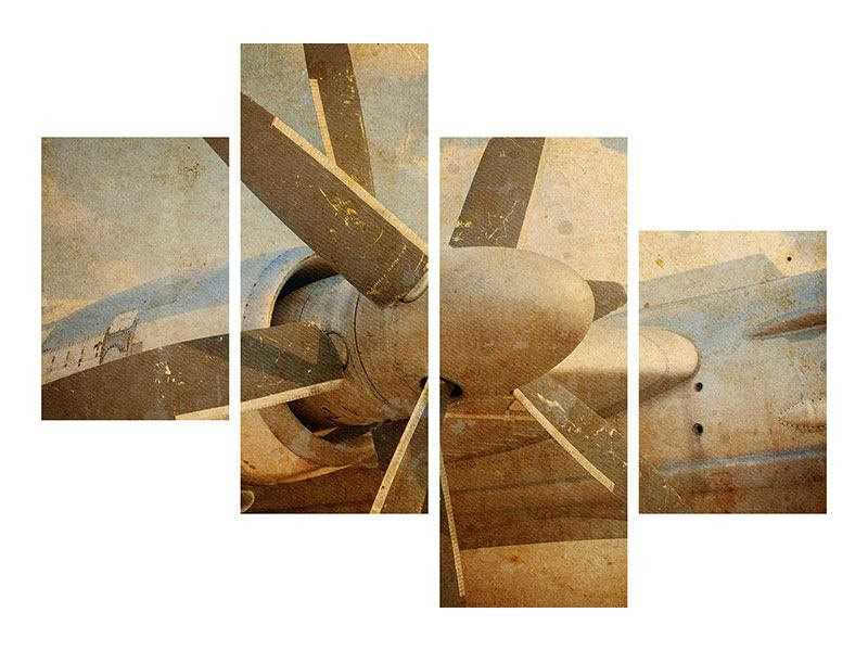 Metallic-Bild 4-teilig modern Propellerflugzeug im Grungestil
