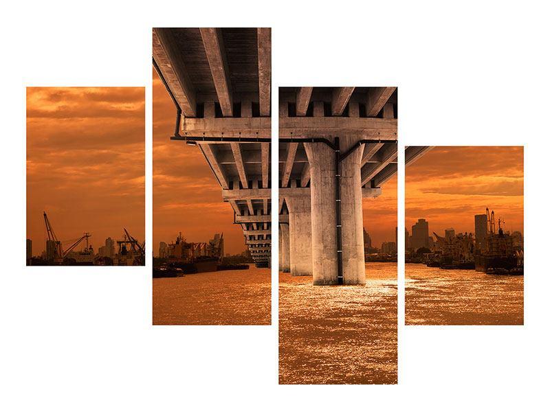 Metallic-Bild 4-teilig modern Die Brücke