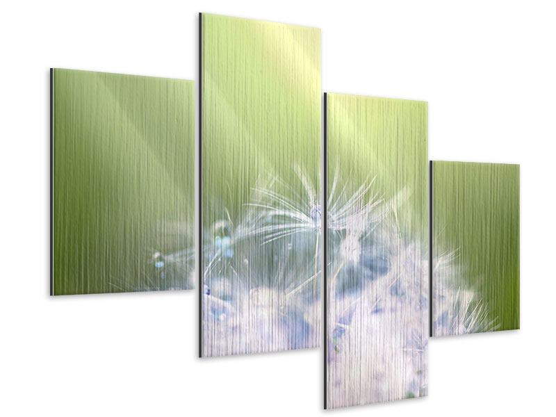 Metallic-Bild 4-teilig modern Pusteblume XL im Morgentau