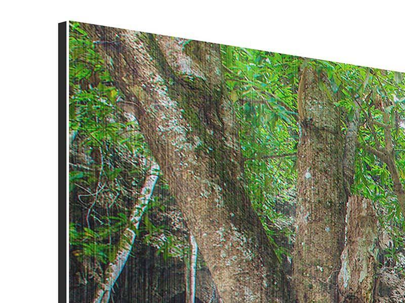 Metallic-Bild 4-teilig modern Fliessgewässer