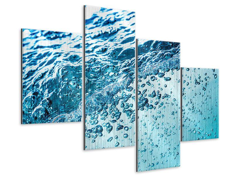 Metallic-Bild 4-teilig modern Wasser in Bewegung