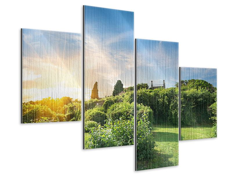 Metallic-Bild 4-teilig modern Sonnenaufgang im Park