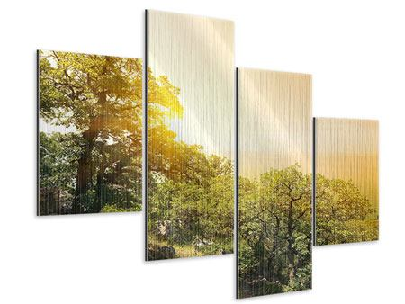 Metallic-Bild 4-teilig modern Sonnenuntergang in der Natur