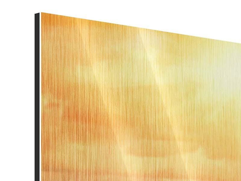 Metallic-Bild 4-teilig modern Goldenes Licht für Sonnenblumen
