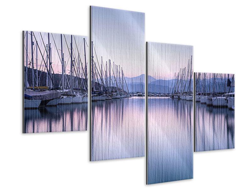 Metallic-Bild 4-teilig modern Yachthafen