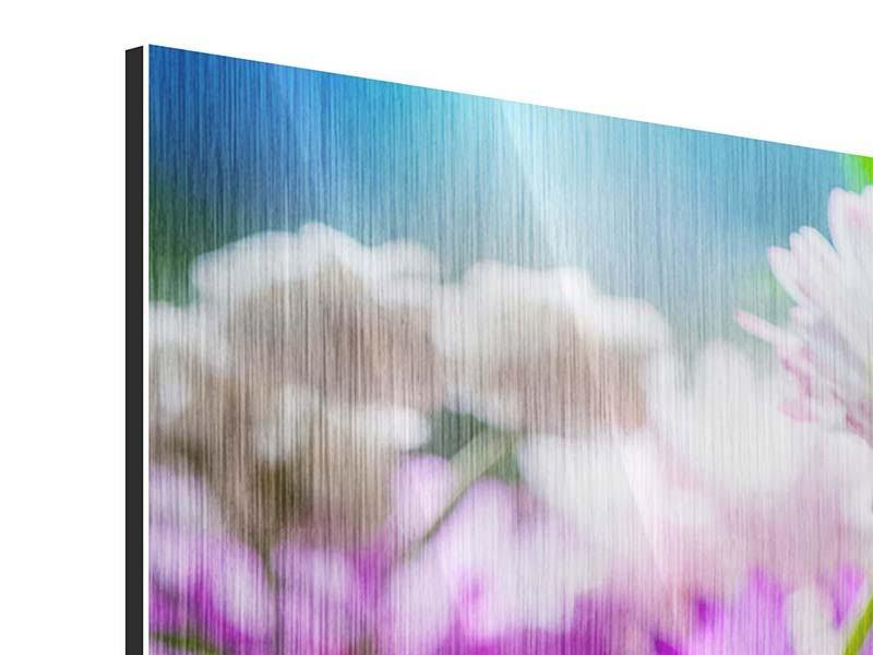 Metallic-Bild 4-teilig modern XXL Gartenblumen