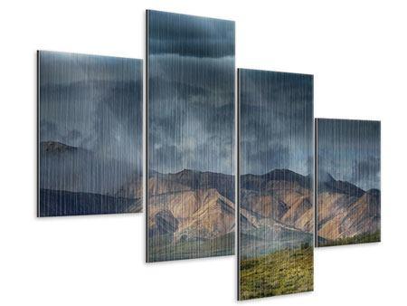 Metallic-Bild 4-teilig modern Silberstreifen