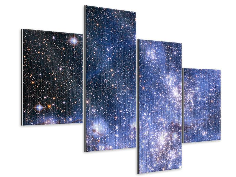 Metallic-Bild 4-teilig modern Sternenhimmel