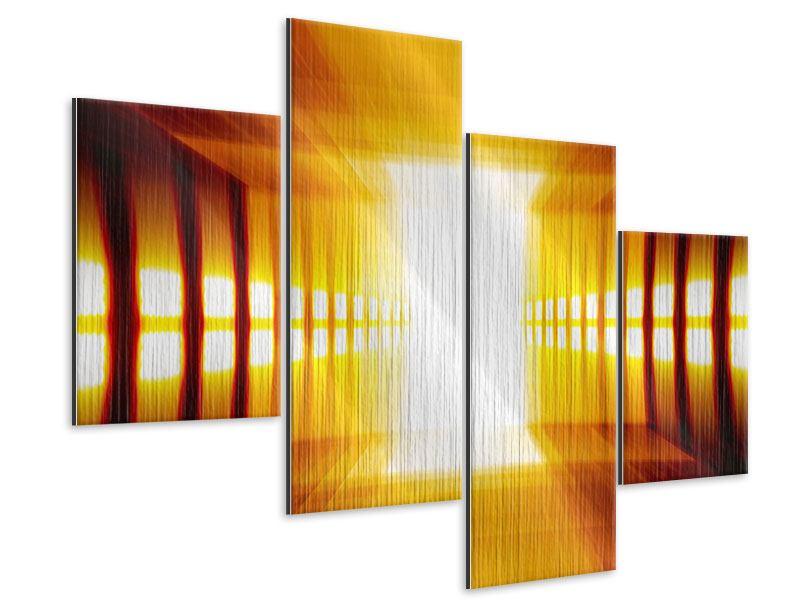 Metallic-Bild 4-teilig modern Abstrakter Goldener Raum