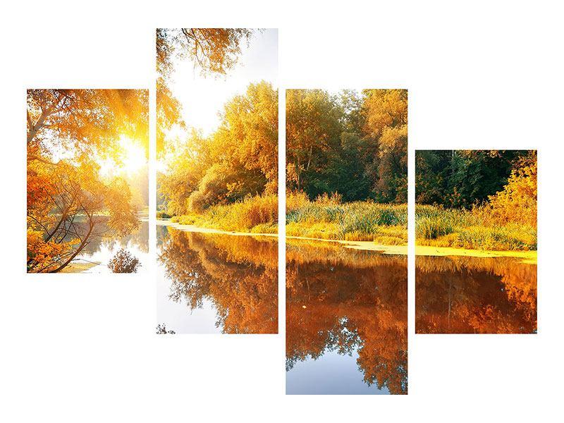 Metallic-Bild 4-teilig modern Waldspiegelung im Wasser