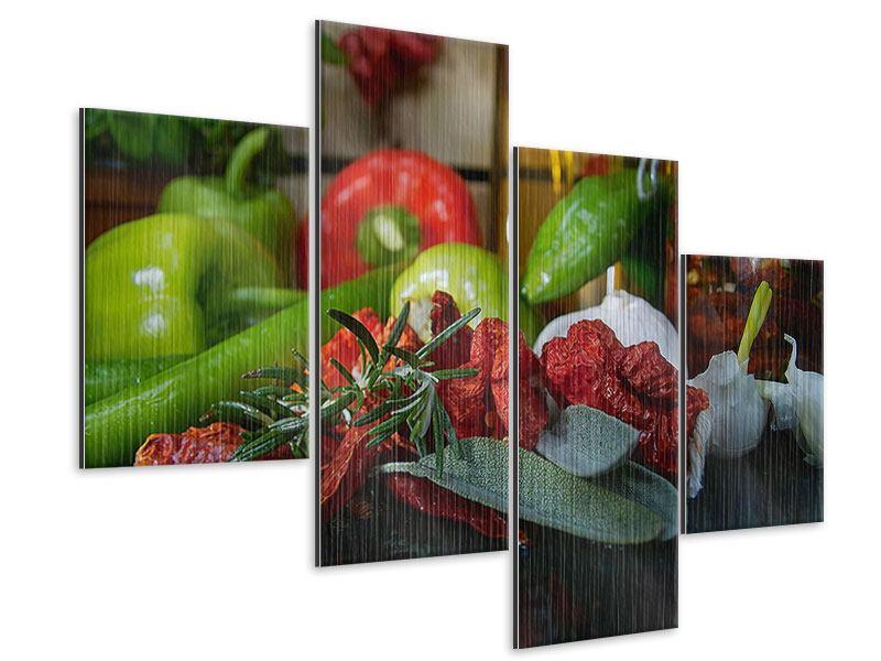 Metallic-Bild 4-teilig modern Mediterranes Gemüse