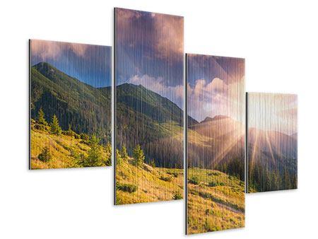 Metallic-Bild 4-teilig modern Herbstanfang
