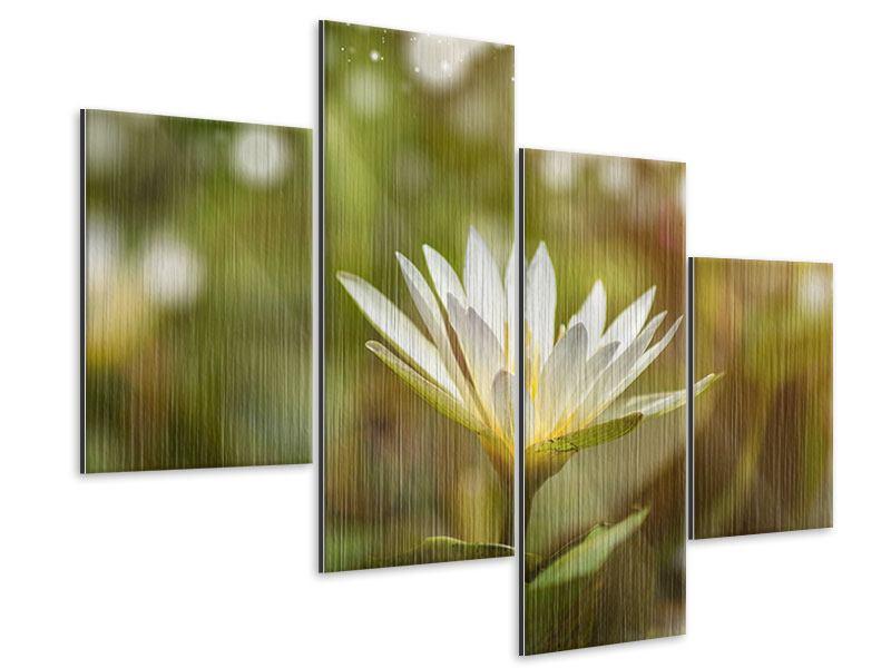 Metallic-Bild 4-teilig modern Lilien-Lichtspiel