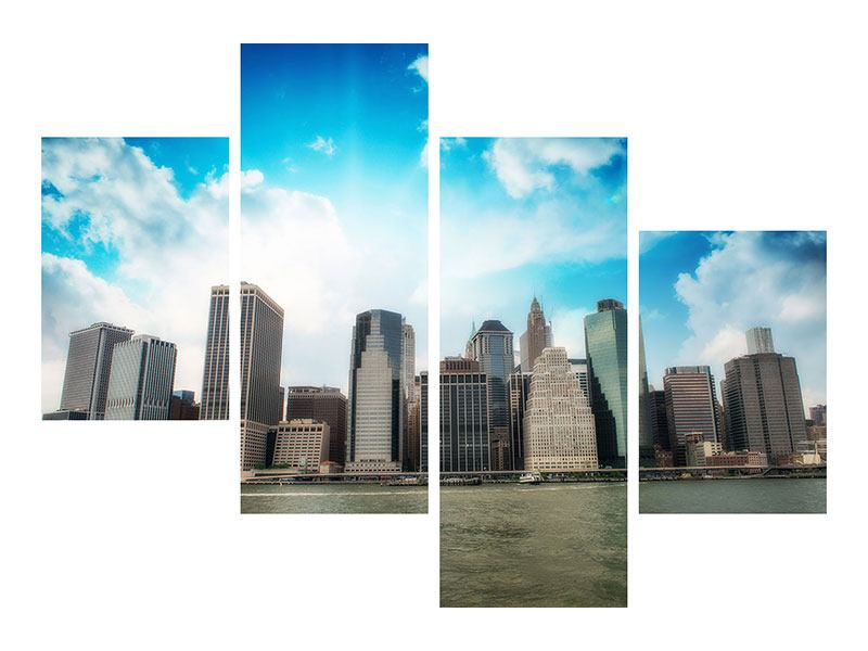 Metallic-Bild 4-teilig modern Skyline Lower Manhattan
