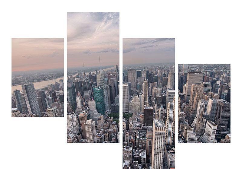 Metallic-Bild 4-teilig modern Skyline Blick über Manhattan