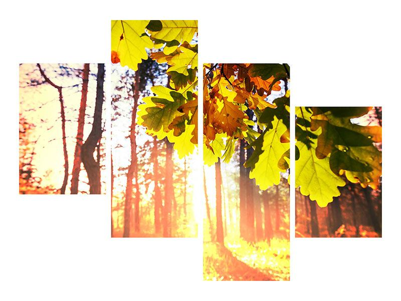 Metallic-Bild 4-teilig modern Herbst