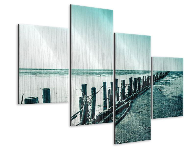 Metallic-Bild 4-teilig modern Das Wattenmeer