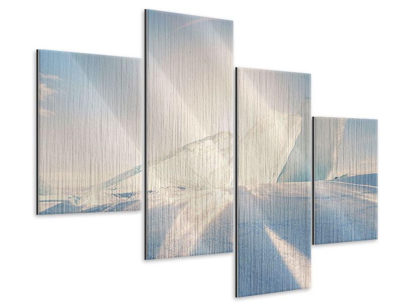 Metallic-Bild 4-teilig modern Eislandschaft
