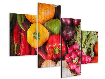 Metallic-Bild 4-teilig modern Gemüsefrische