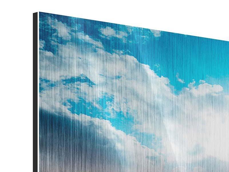 Metallic-Bild 4-teilig modern Skyline Über den Dächern von Manhattan