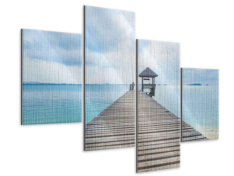 Metallic-Bild 4-teilig modern Ozean-Steg