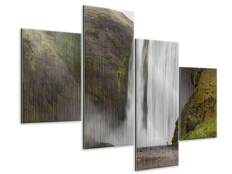 Metallic-Bild 4-teilig modern Skogafoss