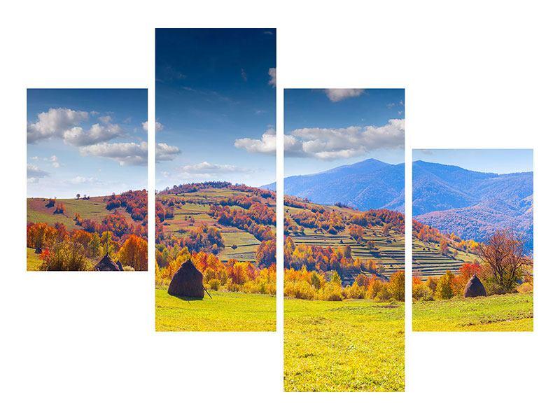 Metallic-Bild 4-teilig modern Herbstliche Berglandschaft