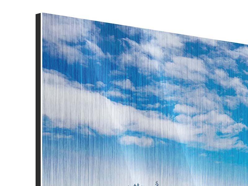 Metallic-Bild 4-teilig modern Wolken ziehen auf