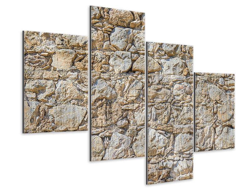 Metallic-Bild 4-teilig modern Sandsteinmauer
