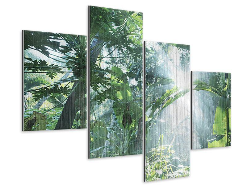 Metallic-Bild 4-teilig modern Dschungelstar