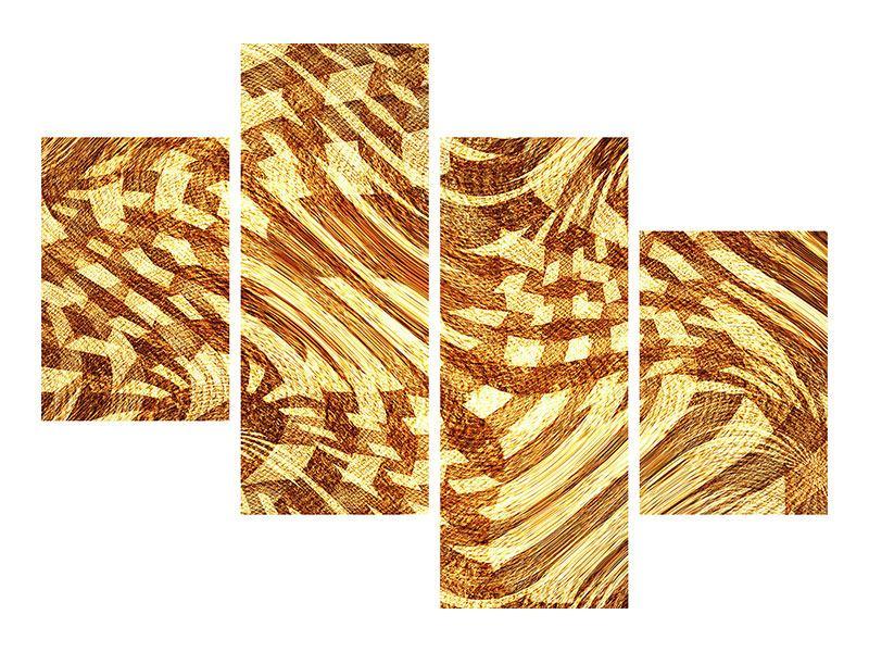 Metallic-Bild 4-teilig modern Retroperspektive
