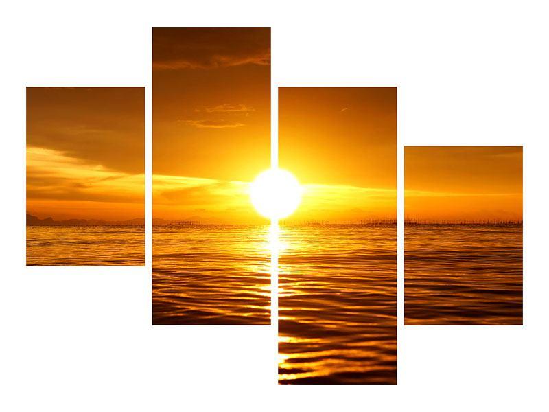 Metallic-Bild 4-teilig modern Glühender Sonnenuntergang am Wasser