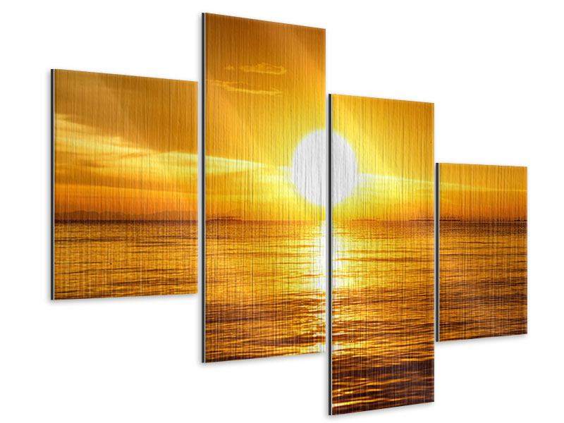Metallic-Bild 4-teilig modern Traumhafter Sonnenuntergang
