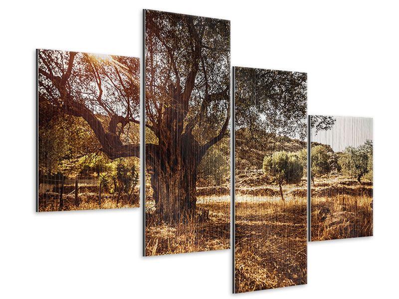 Metallic-Bild 4-teilig modern Olivenhain