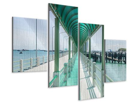 Metallic-Bild 4-teilig modern Die Brücke am Meer