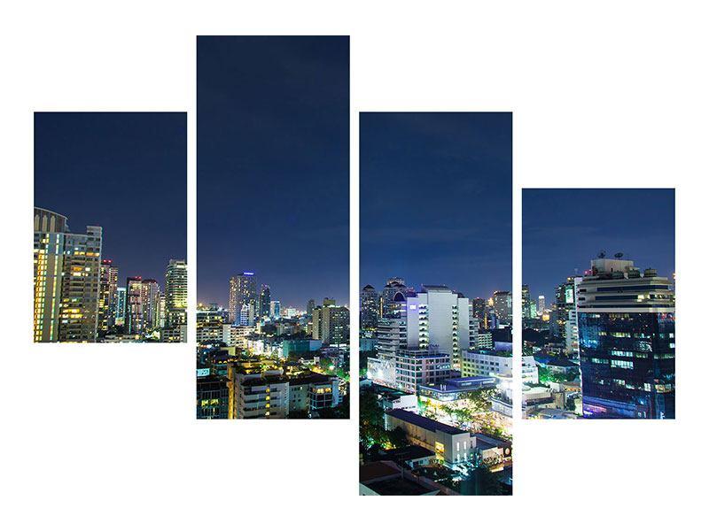Metallic-Bild 4-teilig modern Skyline Nachts in Bangkok