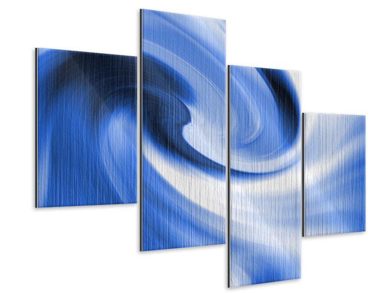 Metallic-Bild 4-teilig modern Abstrakte blaue Welle