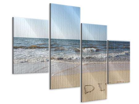 Metallic-Bild 4-teilig modern Sandspuren