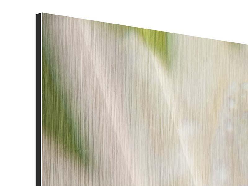 Metallic-Bild 4-teilig modern Close Up Seerose