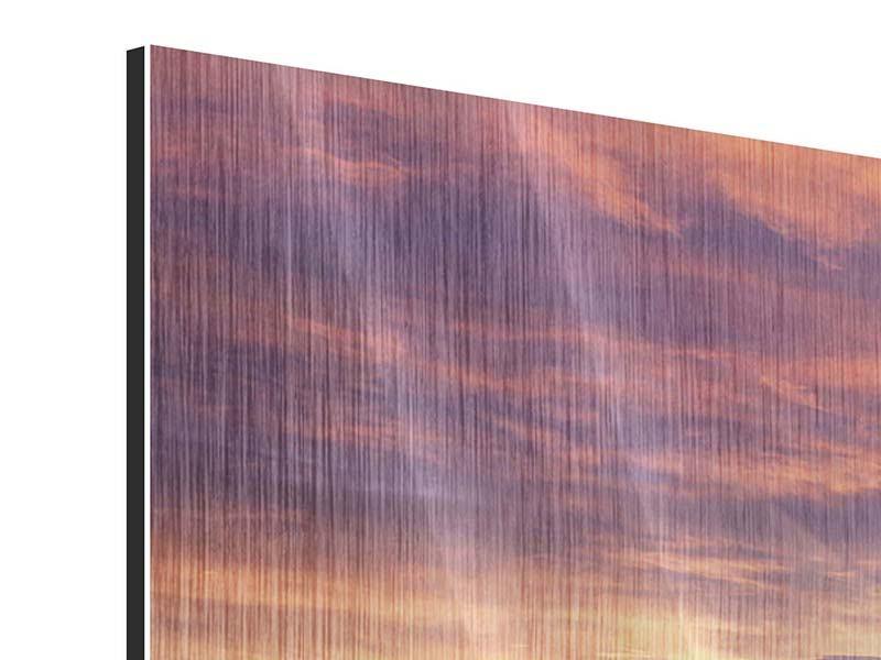 Metallic-Bild 4-teilig modern Sonnenaufgang Winterlandschaft