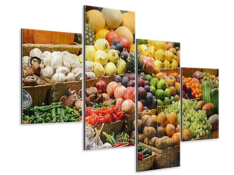 Metallic-Bild 4-teilig modern Obstmarkt