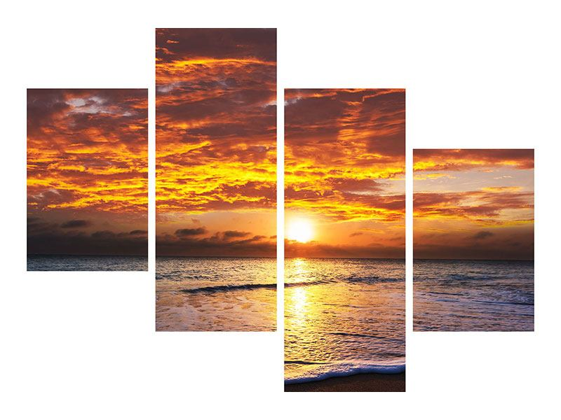 Metallic-Bild 4-teilig modern Entspannung am Meer