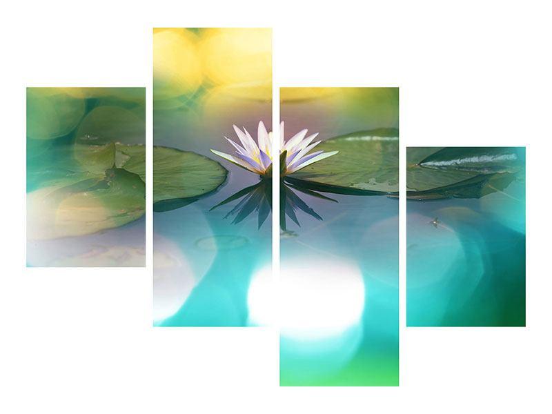Metallic-Bild 4-teilig modern Lotus-Spiegelung
